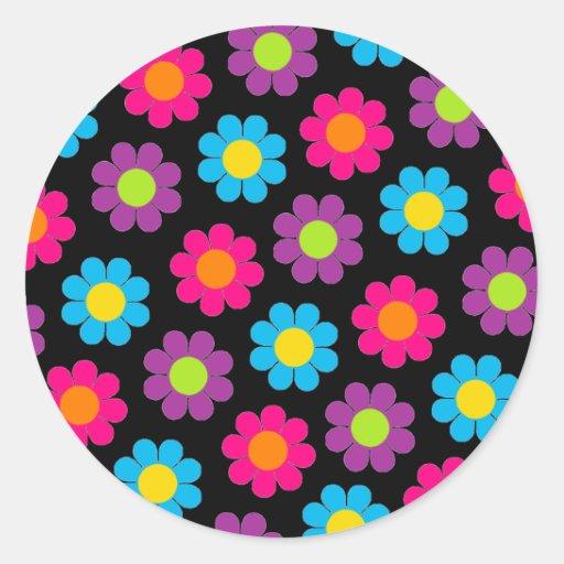 Flower power adesivos em formato redondos