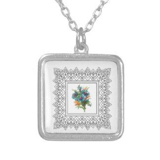 flower power azul colar banhado a prata