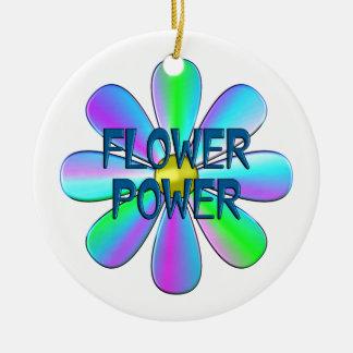 Flower power ornamento de cerâmica redondo