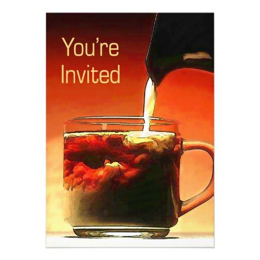 Fluindo o creme na ruptura de café você é convidad convites personalizados