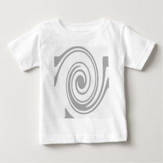 Fluxo espiral cinzento do teste padrão esquerda camiseta para bebê