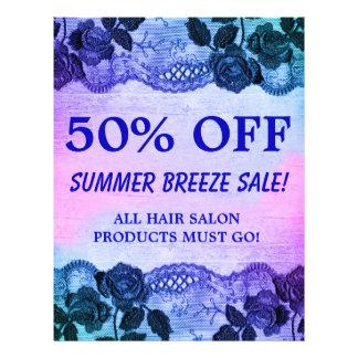 Flyer 50 FORA do azul floral do rosa do insecto da venda