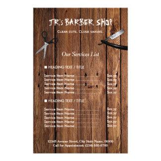 Flyer A barbearia de madeira rústica do olhar presta