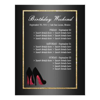 Flyer A dança vermelha calça o itinerário - aniversário