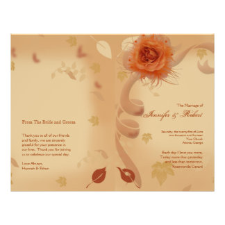 Flyer A laranja aumentou no programa do casamento outono