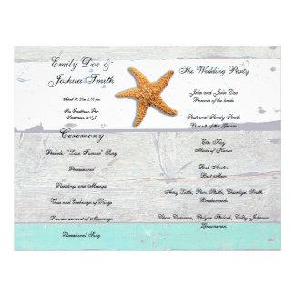 Flyer Agenda do modelo do programa do casamento de praia