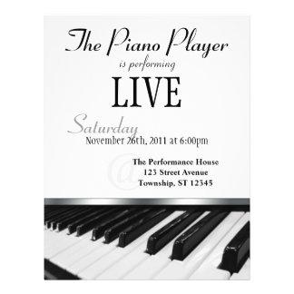 Flyer Anúncio do desempenho de chaves do piano da perspe