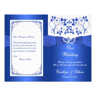 Flyer Azuis cobaltos, corações florais brancos que