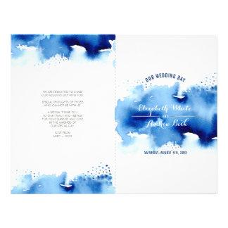 Flyer Azuis marinhos legal da aguarela à moda da