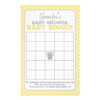 Flyer Bingo (amarelo) do bebê do elefante