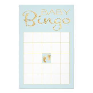 """Flyer BINGO AZUL """"ouro/clássico azul """" do chá de fraldas"""