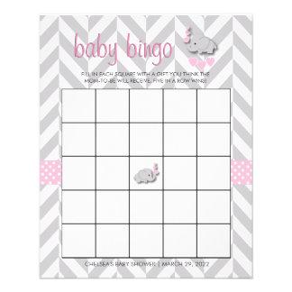 Flyer Bingo cor-de-rosa e cinzento bonito do chá de