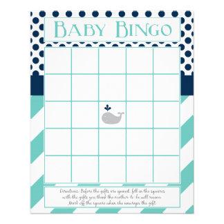 Flyer Bingo do chá de fraldas da baleia azul