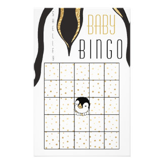 """Flyer BINGO do """"pinguim do chá de fraldas ouro """""""