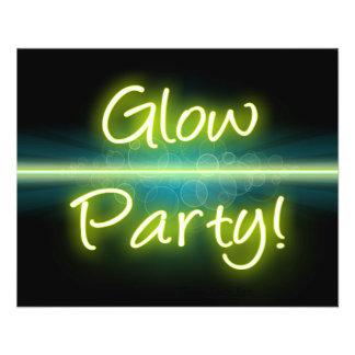 Flyer Blacklight amarelo/verde do partido do fulgor,