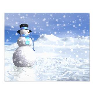 Flyer Boneco de neve feliz no inverno