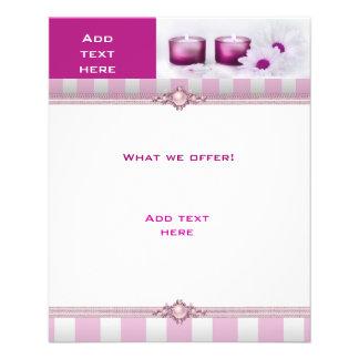 Flyer Branco StripeTemplate do rosa dos termas do salão