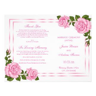 Flyer Buquês de canto cor-de-rosa bonito que Wedding o