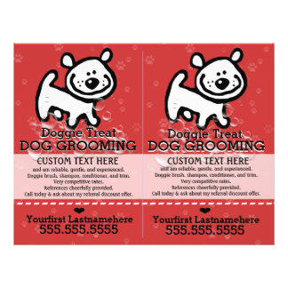 Flyer Cão Grooming.Pet Groomer.2 para 1.Customizable.