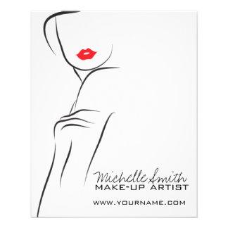 Flyer Cara da mulher do ícone da composição nos lábios