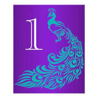Flyer Cerceta e números roxos da mesa do pavão