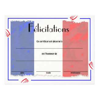 Flyer Certificado francês da classe da realização