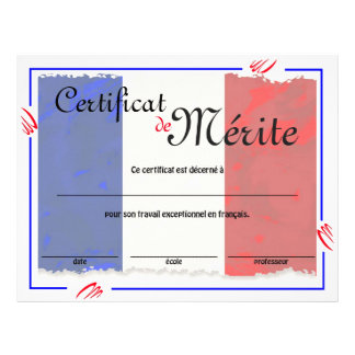 Flyer Certificado genérico da classe francesa