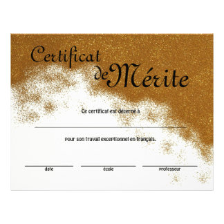 Flyer Certificado genérico da classe francesa da