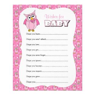 Flyer Chá de fraldas cor-de-rosa da coruja das bolinhas