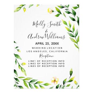 Flyer convite de casamento floral das flores da folha do