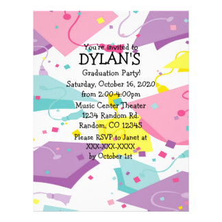 Flyer Convites Pastel do insecto da festa de formatura