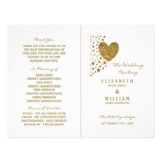 Flyer Coração & estrelas do brilho do ouro que Wedding o
