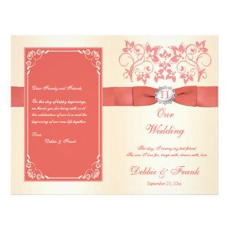 Flyer Coral do monograma, programa do casamento de