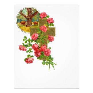 Flyer Cruz do ouro com cravos vermelhos