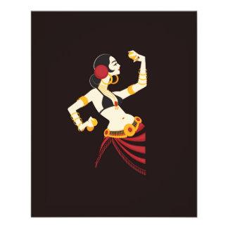 Flyer dançarino de barriga tribal da fusão com pratos