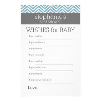 Flyer Desejos para o bebê - jogo azul Pastel do chá das