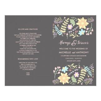 Flyer Design floral moderno programa Wedding dobrado