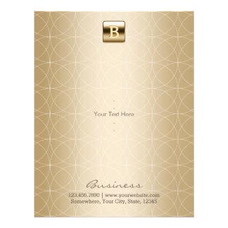Flyer Elegante geométrico do monograma luxuoso do ouro