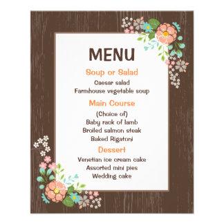 Flyer Festa de casamento floral da madeira de Brown do