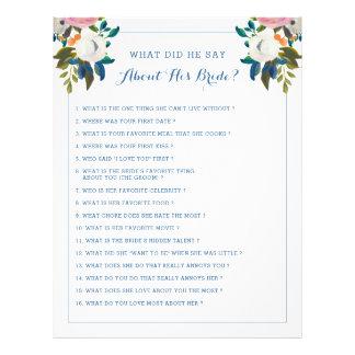 Flyer Floral branco azul do jogo editável do chá de