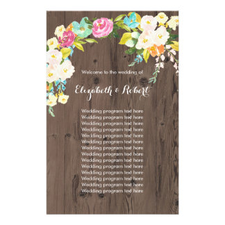 Flyer Flores coloridas no falso de madeira