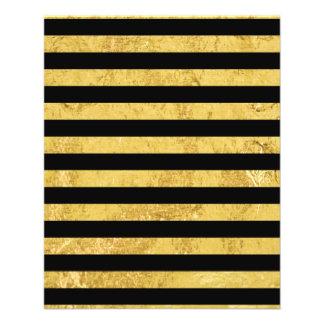 Flyer Folha de ouro elegante e teste padrão preto da