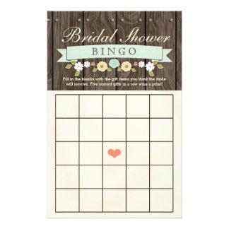 Flyer Folha nupcial rústica do Bingo do chá de casamento