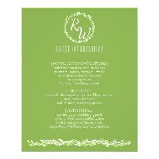 Flyer Informação Wedding rústica do convidado da videira