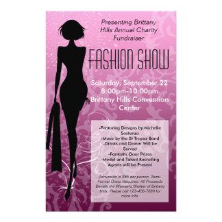 Flyer Insecto do desfile de moda, redemoinho cor-de-rosa