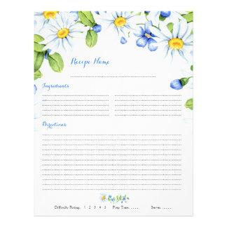 Flyer Inserções florais azuis da receita da pasta da