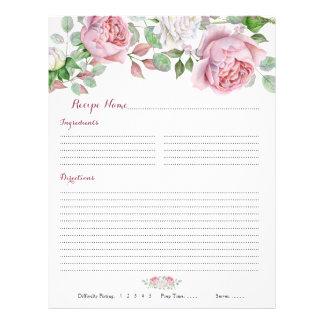 Flyer Inserções florais da receita da pasta do rosa do