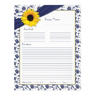 Flyer Inserções florais da receita da pasta dos azuis