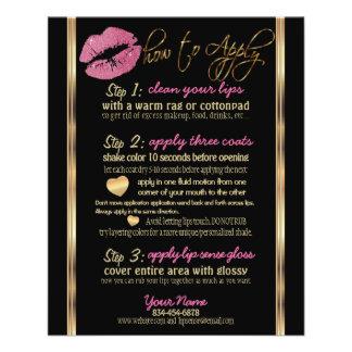 Flyer Instruções cor-de-rosa bonito do bordo do brilho