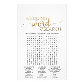 Flyer Jogo de busca simples da palavra do casamento da